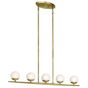 Kichler Jasper 5-Light Linear Chandelier in Natural Brass
