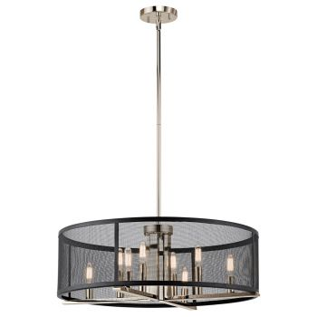Kichler Titus 8-Light Drum Chandelier in Polished Nickel