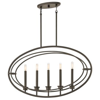 Kichler Imogen 5-Light Linear Chandelier in Olde Bronze