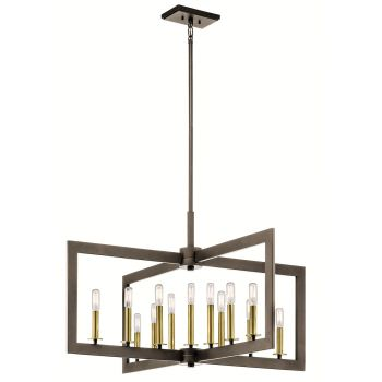 Kichler Cullen 13-Light Double Linear Chandelier in Olde Bronze