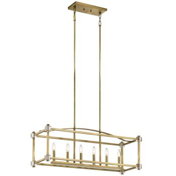 Kichler Cayden 6-Light Linear Chandelier in Natural Brass