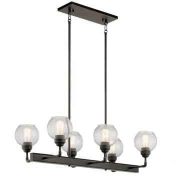 "Kichler Niles 32.25"" 6-Light Linear Chandelier in Olde Bronze"