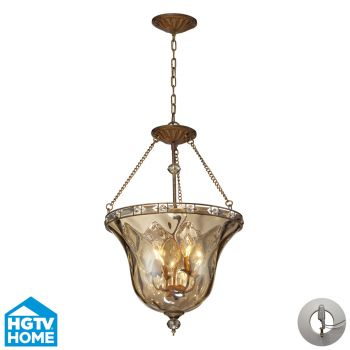 Elk Lighting Cheltham 4-Light Bell Pendant In Mocha with Recessed Conversion Kit