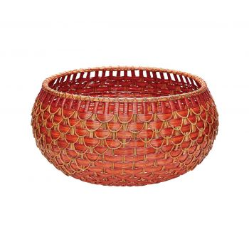 Dimond Home Fish Scale Basket in Red and Orange