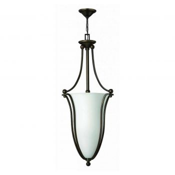 "Hinkley Bolla 44"" 6-Light Bell Pendant in Olde Bronze & Etched Opal"
