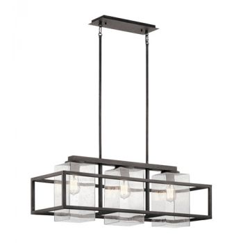 "Kichler Wright 36"" 3-Light Outdoor Linear Chandelier in Weathered Zinc"