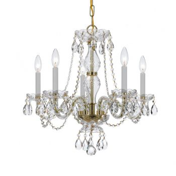 Crystorama Trad Crystal 5-Light Crystal Chandelier in Polished Brass