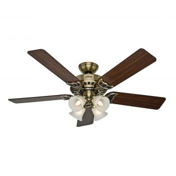 "Hunter Studio Series 52"" Ceiling Fan in Antique Brass"
