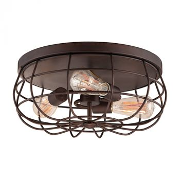 Millennium Lighting Neo-Industrial 3-Light Flush Mount in Rubbed Bronze