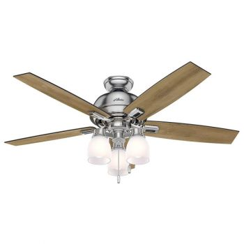 "Hunter Donegan 52"" 3-Light LED Indoor Ceiling Fan in Nickel/Chrome"