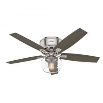 "Hunter Bennett 52"" LED Indoor Clear Ceiling Fan in Brushed Nickel/Chrome"