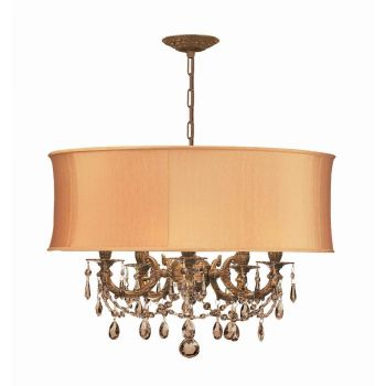 Crystorama Gramercy 5-Light Mini Golden Teak Crystal Drum Shade Chandelier