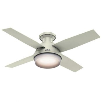 "Hunter Dempsey 44"" 2-Light LED Cased White Indoor Ceiling Fan in White"