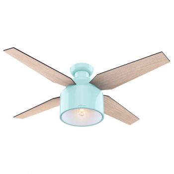"Hunter Cranbrook 52"" LED Indoor Low Profile Ceiling Fan in Blonde Oak"