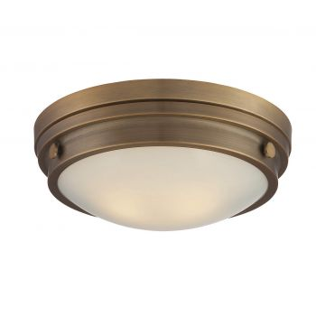 Savoy House Lucerne 2-Light Flush Mount in Warm Brass