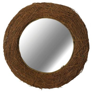 Kenroy Home Harvest Wall Mirror in Natural Rattan Finish