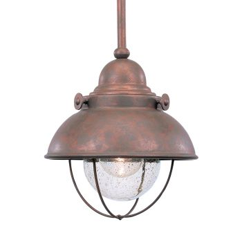 Sea Gull Lighting Sebring 1-Light Outdoor Mini-Pendant in Weathered Copper