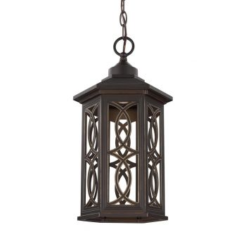 "Sea Gull Lighting Ormsby 9"" LED Outdoor Pendant in Antique Bronze"