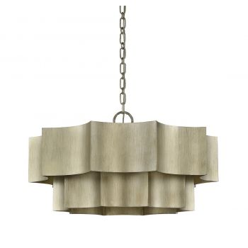 "Savoy House Shelby 30"" 6-Light Pendant in Silver Patina"