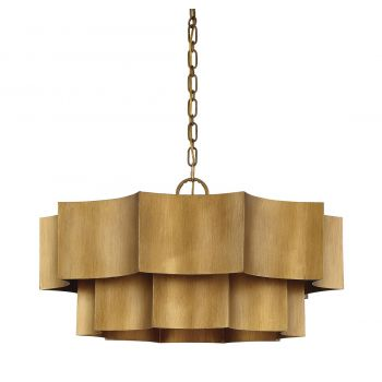"Savoy House Shelby 30"" 6-Light Pendant in Gold Patina"