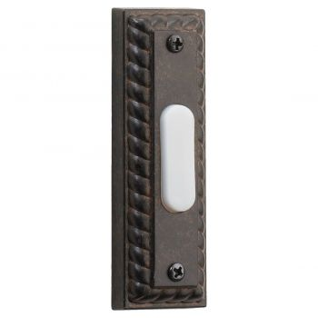"""Quorum Chime 3.5"""" Door Chime Button in Toasted Sienna"""