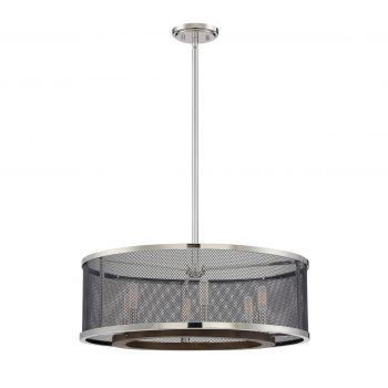 Savoy House Valcour 6-Light Pendant in Polished Nickel w/Graphite and Wood Accents
