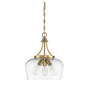 "Savoy House Octave 15"" 3-Light Pendant in Warm Brass"