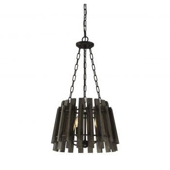 Savoy House Glades 4-Light Wood Pendant in Weathered Wood