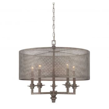 Savoy House Structure 5-Light Pendant in Aged Steel