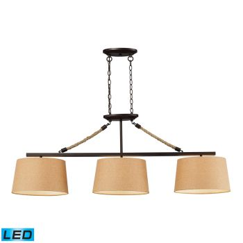 Elk Lighting Natural Rope LED 3-Light Billiard/Island in Aged Bronze