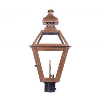 "Elk Bayou 26"" Outdoor Gas Post Lantern in Aged Copper"