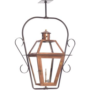 "Elk Lighting Grande Isle 15"" Outdoor Hanging Gas Lantern in Aged Copper"