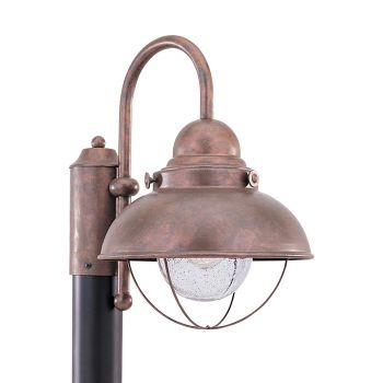 Sea Gull Lighting Sebring 1-Light Outdoor Post Lantern in Weathered Copper