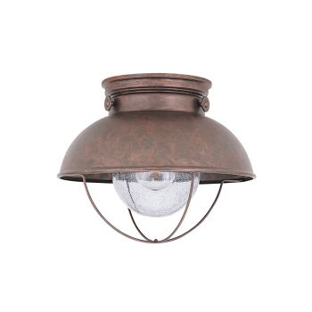 Sea Gull Lighting Sebring LED Outdoor Ceiling Flush Mount in Weathered Copper