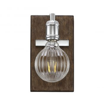 "Savoy House Barfield 9"" Wall Sconce in Polished Nickel/Wood Accents"