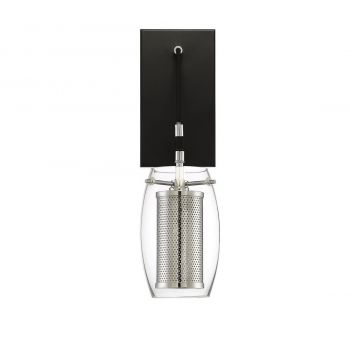 "Savoy House Dunbar 16"" Wall Sconce in Matte Black/Polished Chrome"