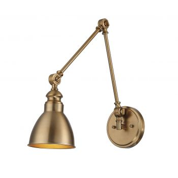 Savoy House Dakota 1-Light Adjustable Wall Lamp in Warm Brass