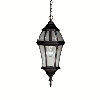 "Kichler Townhouse 1-Light 9.25"" Outdoor Hanging Pendant in Black Finish"