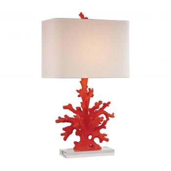"""Dimond Red Coral 28"""" Table Lamp in Red"""