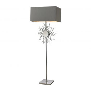 """Dimond Cesano 62"""" Abstract Formed Metalwork Floor Lamp in Polished Nickel"""