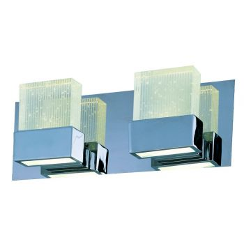 ET2 Fizz III 4-Light Etched/Bubble Glass Bath Vanity in Polished Chrome