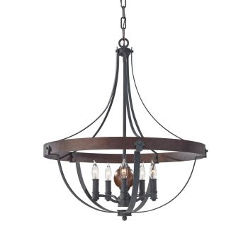Feiss Alston 5-Light Chandelier in Charcoal Brick and Acorn Finish