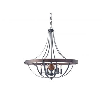 Feiss Alston 6-Light Chandelier in Charcoal Brick and Acorn Finish