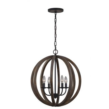 Feiss Allier 4-Light Weathered Oak & Forged Iron Large Pendant