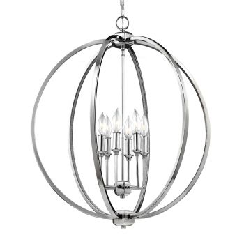 Feiss Corinne 6-Light Pendant in Polished Nickel