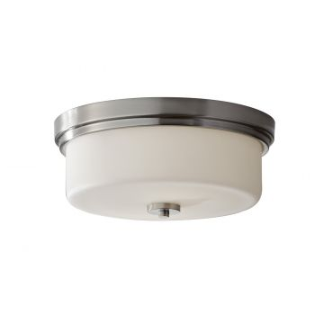 Feiss Kincaid 2-Light Flush Mount in Brushed Steel Finish