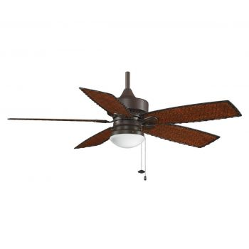 "Fanimation 52"" Cancun Outdoor Ceiling Fan in Bronze w/Woven Bamboo Blades"