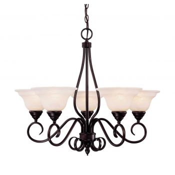 "Savoy House Oxford 23.5"" 5-Light Chandelier in English Bronze"