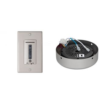 Monte Carlo Wired Wall Remote w/ Almond Switch Plate & Receiver Hub in Brushed Pewter