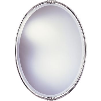 "Feiss New London 33"" x 24"" Mirror in Polished Nickel Finish"